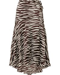 Ganni - Blakely Zebra-print Stretch-silk Satin Wrap Skirt - Lyst