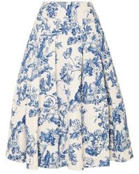 34a1a09254 JW Anderson Pleated Cotton-Jacquard Midi Skirt in White - Lyst