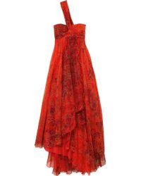 Etro - One-shoulder Embellished Printed Silk-chiffon Gown - Lyst