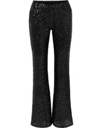 Anna Sui - Sparkling Nights Sequined Mesh Flared Pants - Lyst