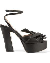 N°21 - Knotted Satin Platform Sandals - Lyst