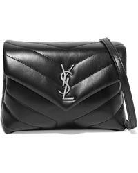9031e3ec40e3 Saint Laurent - Black Monogram Detail Quilted Leather Bag - Lyst