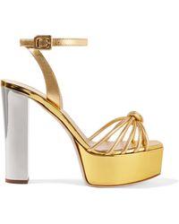 Giuseppe Zanotti - Lavinia Metallic Leather Platform Sandals - Lyst