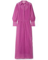 By Malene Birger - Nangila Printed Cotton And Silk-blend Crepon Maxi Dress - Lyst