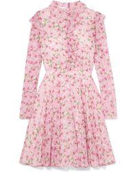 Giambattista Valli - Ruffled Floral-print Silk-georgette Mini Dress - Lyst