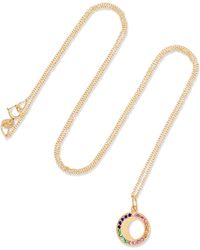 Andrea Fohrman - Waning Moon 18-karat Gold, Sapphire And Emerald Necklace Gold One Size - Lyst