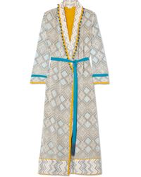 Talitha - Maghreb Pompom-embellished Printed Silk Crepe De Chine Robe - Lyst