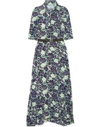 Prada - Asymmetric Floral-print Stretch-silk Midi Dress - Lyst