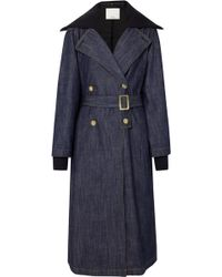 Tibi - Stretch Merino Wool-trimmed Denim Trench Coat - Lyst