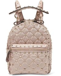 Valentino   The Rockstud Leather-trimmed Quilted Satin-twill Backpack   Lyst