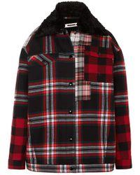 McQ - Oversized Faux Fur-lined Tartan Cotton-twill Jacket - Lyst