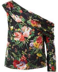 Alice + Olivia - Serita One-shoulder Floral-print Burnout-chiffon Top - Lyst
