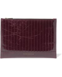 Victoria Beckham - Quilted Glossed Textured-leather Pouch - Lyst
