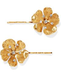 Jennifer Behr - Haille Set Of Two Gold-tone Crystal Hair Slides - Lyst