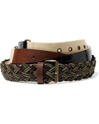 Y. Project - Leather, Croc-effect And Canvas Belt - Lyst