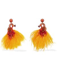 Ranjana Khan - Passerine Feather And Crystal Clip Earrings - Lyst