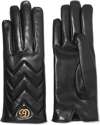 Gucci - Embellished Quilted Leather Gloves - Lyst