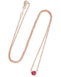 Anita Ko - Heart 18-karat Rose Gold Ruby Necklace - Lyst
