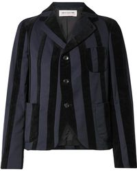 Comme des Garçons - Striped Wool-blend And Velvet Blazer - Lyst