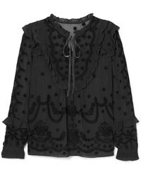 Needle & Thread - Jazz Embroidered Ruffle-trimmed Chiffon Blouse - Lyst