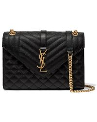 1337d8cc8a Saint Laurent - Envelope Quilted Leather Shoulder Bag - Lyst