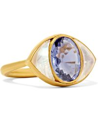 Marie-hélène De Taillac - Lucky Eye 22-karat Gold, Iolite And Moonstone Ring - Lyst