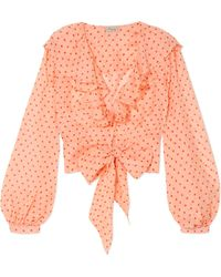 Temperley London - Ruffled Polka-dot Silk-chiffon Blouse - Lyst