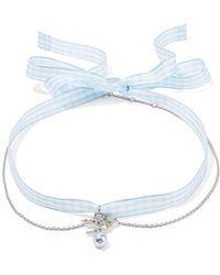 Miu Miu - Gingham Cotton, Silver-tone, Crystal And Faux Pearl Choker - Lyst