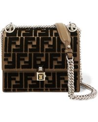 Fendi - Kan I Small Flocked Leather Shoulder Bag - Lyst