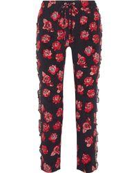 Markus Lupfer - Lana Ruffled Printed Silk Crepe De Chine Tapered Trousers - Lyst