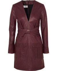 Victoria, Victoria Beckham - Bow-detailed Leather Mini Dress - Lyst