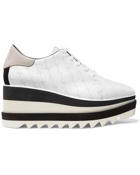e24ffc9deef0 Stella McCartney - Elyse Logo-perforated Faux Leather And Suede Platform  Brogues - Lyst