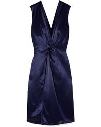 Sid Neigum - Twist-front Hammered-satin Dress - Lyst
