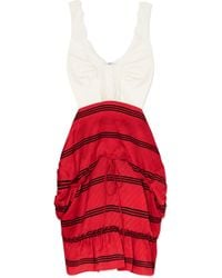 Balenciaga - Convertible Lace-trimmed Stretch-jersey And Striped Silk Dress - Lyst