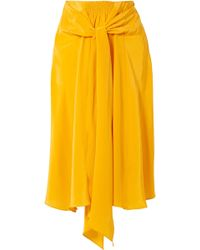 TOME - Knotted Silk Crepe De Chine Midi Skirt - Lyst