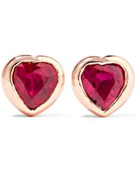 Anita Ko - Heart 18-karat Rose Gold Ruby Earrings - Lyst
