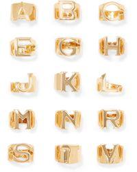 Chloé - Alphabet Gold-tone Ring Gold E - Lyst