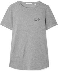 Chinti & Parker - Kiss Me Embroidered Cotton-jersey T-shirt - Lyst