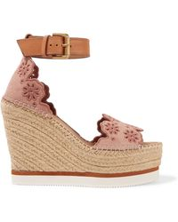See By Chloé - Leather And Embroidered Suede Espadrille Wedge Sandals - Lyst