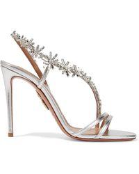 Aquazzura - Chateau Crystal-embellished Metallic Leather Sandals - Lyst
