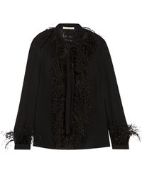 Christopher Kane | Dna Feather-trimmed Silk-georgette Blouse | Lyst