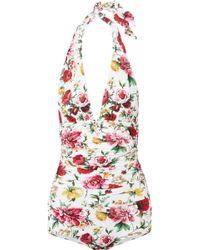 Dolce & Gabbana - Ruched Floral-print Halterneck Swimsuit - Lyst