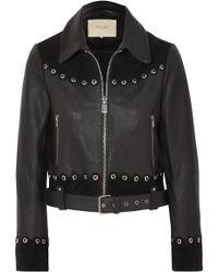Maje - Embellished Suede-trimmed Leather Jacket - Lyst