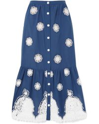 Miguelina - Adrienne Versailles Broderie Anglaise-trimmed Cotton-voile Midi Skirt - Lyst