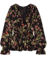 Giambattista Valli - Wrap-effect Floral-print Silk-georgette Blouse - Lyst