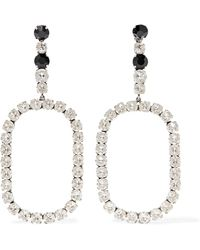 Saint Laurent - Silver-plated Crystal Clip Earrings - Lyst