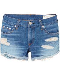 Rag & Bone - Distressed Denim Shorts - Lyst