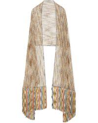 Missoni - Fringed Metallic Crochet-knit Wrap - Lyst