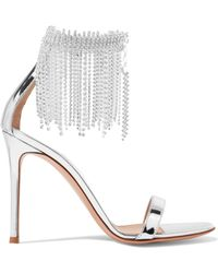 Gianvito Rossi - 100 Crystal-embellished Metallic Leather Sandals - Lyst