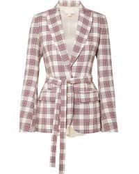 Antonio Berardi - Organza-paneled Checked Wool Blazer - Lyst